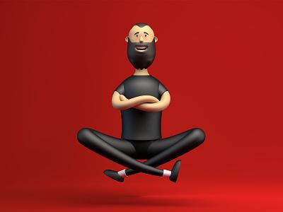 Yoga flyght art illustraion design fly yoga cartoon 3d character