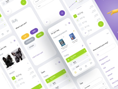 Flaffy — your pet's diary dog clean flat app mobile design ux ui petshop pet