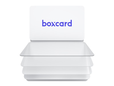 Boxcard – reel cards in the app wallet logo illustration 3d design ux ui mobile app discount plastic cards banking