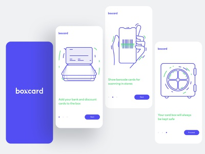 Boxcard – all plastic cards in one application discount wallet safe barcode plastic card minimal logo design icon illustration line flat mobile app animation ux ui dashboad