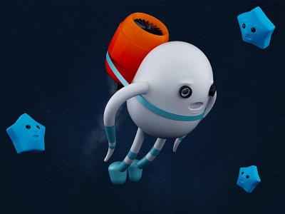Rocketman fire clean design sky fly turbine speed cartoon stars astronaut cosmos character 3d