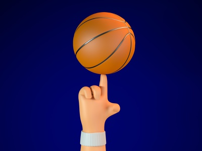 Basketball clean design top up spin finger character cartoon rotate hand basketball art illustration 3d