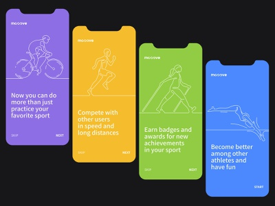 Mooove | Sport tracker and sport community app onboarding interface mobile clean icon flat ux app ui design