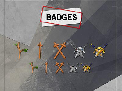 TWITCH BADGES stream packages custom badges cartoon sword subbadges badges emotes vector ui branding illustration mascot youtube channel design logo youtuber streamer