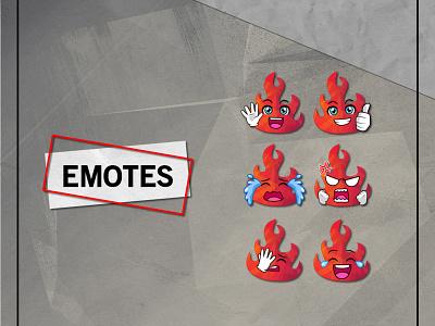 FIRE emotes for twitch twitch emotes emotes fire emote fire cartoon vector ui branding illustration mascot youtube channel design logo youtuber streamer