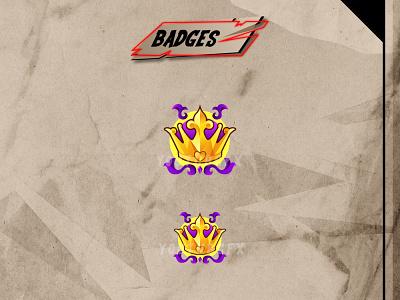 CROWN twitch badges custom badges sub badges badges crown vector branding ui illustration mascot youtube channel design logo youtuber streamer