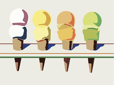 Wayne Theibaud Ice Cream Simplified flat minimal design illustration