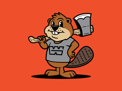 Chopper Beaver branding cartoon lumberjack axe beaver character mascot illustration