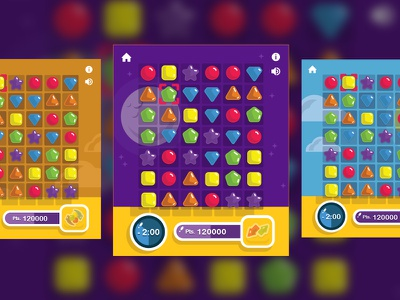 Game Boards for Shape Shift (Match 3) Game