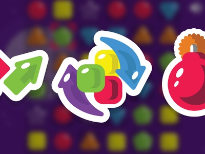 Powerup icons for Shape Shift (Match 3) Game icons logo