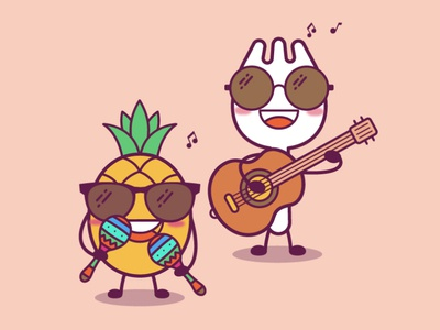 Spork and pineapple team at Google illustration