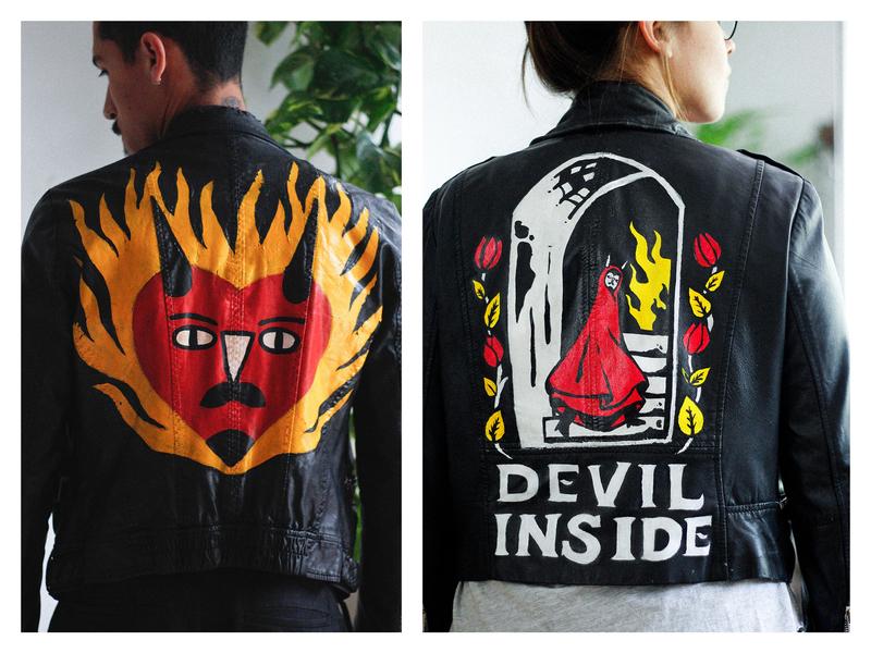 BurningPablo illustration fire devil handpainted handpaint painted painting paint jacket