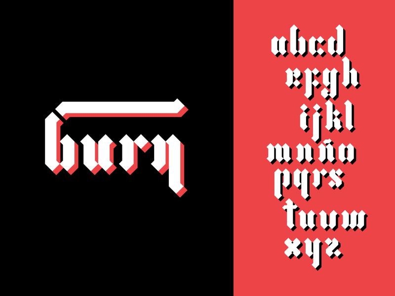Gothic Burn alphabet burn letter design lettering fuente tipografia typogaphy font