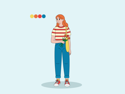 a girl with tulips graphic design vector webdesign ui character design illustration adobe-illustrator character design
