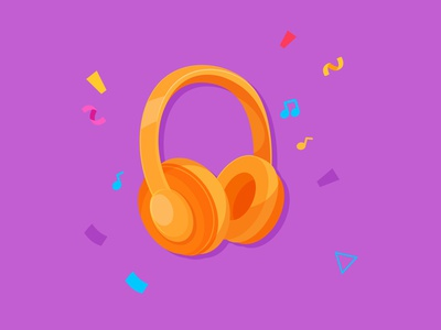 Headphone Sticker illustration design