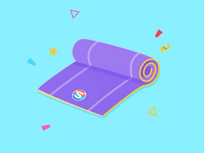 Yoga Mat Sticker illustration design
