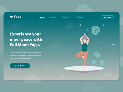 Yoga Landing Page Web UI UX prototype app design app portfolio branding design landing website clean dark ui fitness product design web design illustration yoga minimal landing page website design ui ux
