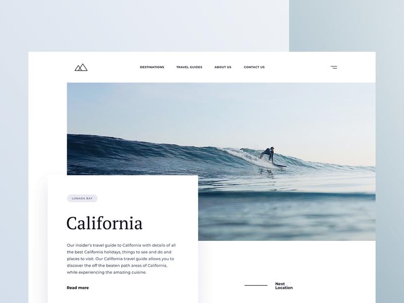 Desktop travel guide green blue typography guide water surfing website landing page travel ux ui webdesign