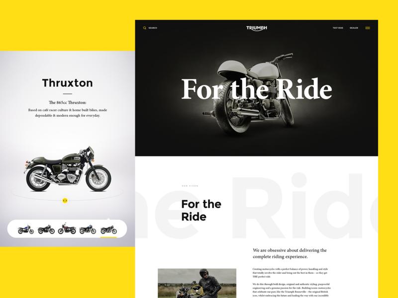 Triumph typography design minimal clean fresh brand new web triumph home page