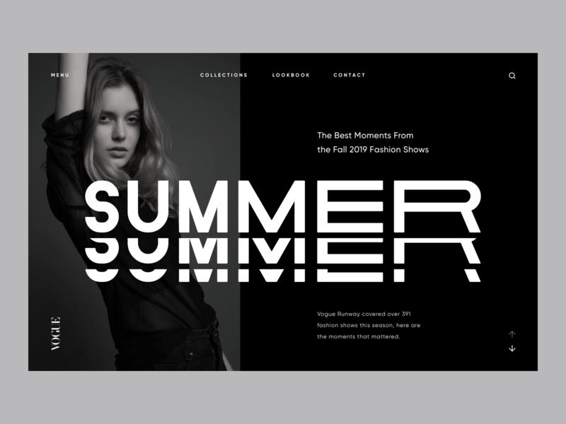 VOGUE Stories Concept black fashion design website type typography minimal web ux ui