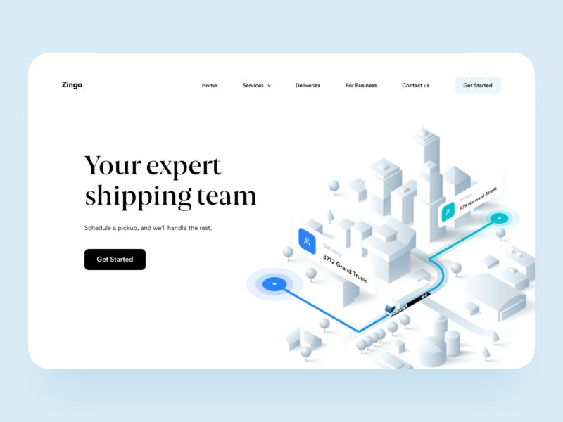 Shipping Landing Page hero location 3d landing page isometric illustration graphics ux ui platform web map delivery shipment