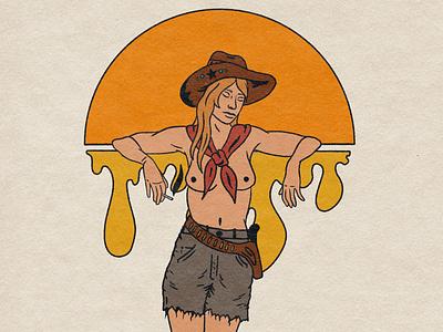 Sweetheart of The Rodeo art psychedelic cowgirl procreate tattoo album art design retro illustrator illustration
