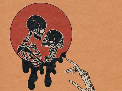 Longing skull art art tattoo procreate illustrator album art retro psychedelic illustration design
