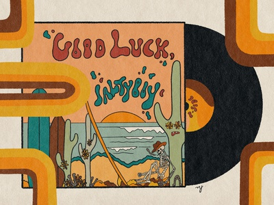 Good Luck Saltyboy - Vinyl Cover vinyl record vinyl merchandise skull art album cover design illustrator retro album art psychedelic illustration