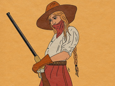 Shotgun Annie art old west cowgirl procreate tattoo illustrator retro illustration design