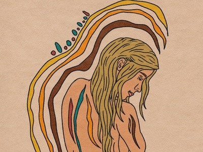 Protect and Ground retro nudeart digitalart portrait art procreate tattoo illustrator psychedelic illustration design