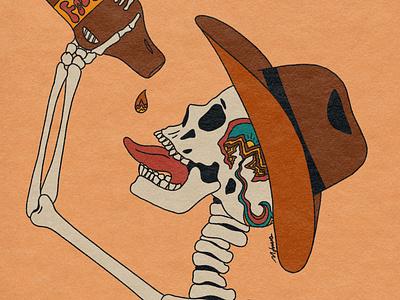 ADHD 70s cowboy logo skull art album art illustrator tattoo retro psychedelic illustration design