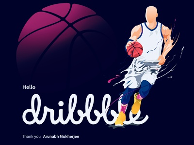 Debut Dribbble shot basketball debutshot debuts art illustrator dribbble firstshot typography vector illustration