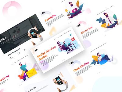 manoj sreeram | portfolio portfolio site personal project typography cards developer designer productdesigner webdesign website design ui illustration portfolio