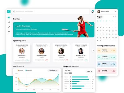 sports dashboard productdesign squash ui app design ux