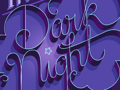 Darknight type cursive night dark script handlettering typography