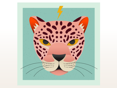 Pink Jaguar flatillustration flat design illustration vectorart vector digital illustration