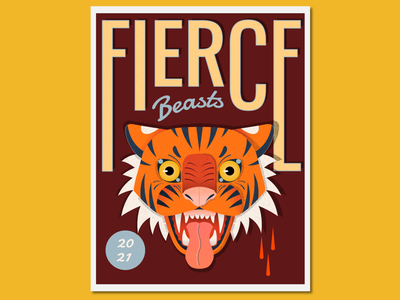 Fierce Beasts Tiger character poster design vector flat illustration vectorart vectorillustration