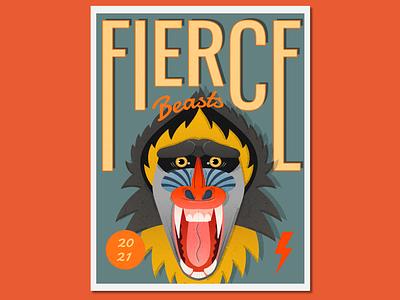 Fierce Beasts Baboon typography poster design vector flatillustration digital illustration vectorillustration illustration