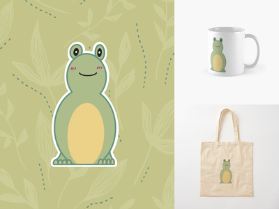Friendly Frog Illustration redbubbleshop redbubble procreate illustration art illustrations illustrator digital illustration digital art digitalart illustration design