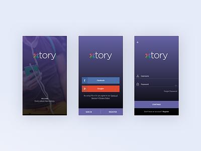 xtory App story signup login splash social