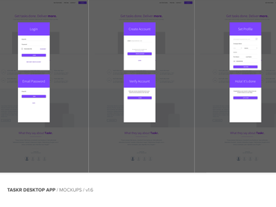 Taskr Desktop App - Signup Flow purple flat ui desktop app signup user flow
