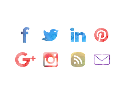Water Color Icons email rss instagaram google pinterest linkedin twitter facebook paint social icons watercolor
