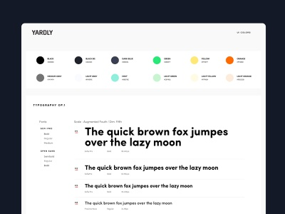 Yardly - Style Guide style guide design system