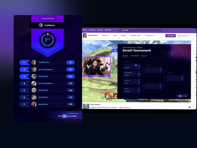 Twitch Tournament Bracket Extension & Overlay participants results leaderboard bracket tournament gaming streaming overlay extension