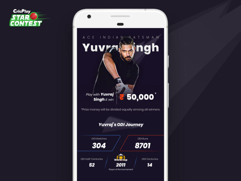 CricPlay Star Contest (Case Study) yuvraj singh typography landing page fantasy cricket cricplay cricket ux creative direction ui design