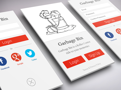 Garbage Bin Registration Process gag comic minimal flat clean social app android iphone ios ux ui