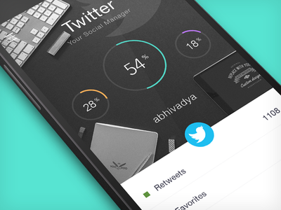 Twitter Social Manager nexus 5.0 lollipop android ux ui minimal flat social twitter analytic