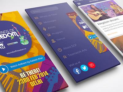 Sounds of Freedom branding music events menu listing splash sidebar iphone ios app ux ui
