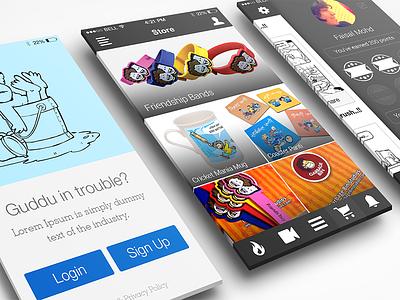Garbage Bin - App Concept apple ios sidebar revealbar home login cartoon ux ui