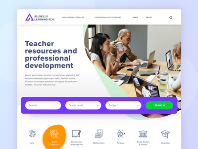 Allskills Hero lms learning management system learning platform learning colors colorfull hero image hero section hero slider design uxdesign uidesign ux ui